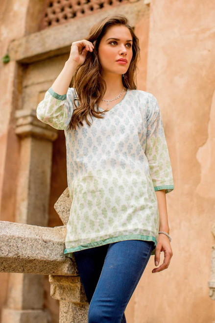 Handmade Block Print Lined Cotton Blend Tunic from India 'Cool Bouquet'