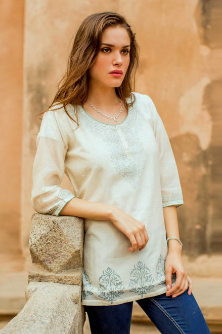 Indian Handmade Block Print Lined Cotton Blend Tunic 'Ivory Delight'