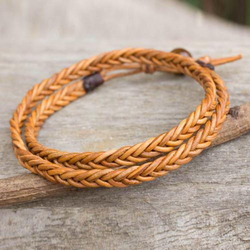 Golden Brown Leather Braid Wrap Bracelet for Men 'Double Hug'