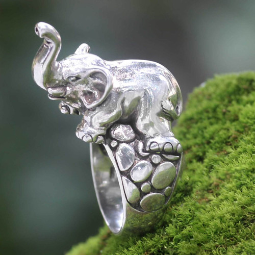 Handcrafted Sterling Silver Elephant Theme Men's Ring 'Sumatran Elephant'
