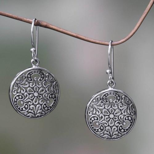 Balinese Handcrafted Sterling Silver Hook Earrings 'Sacred Moon'