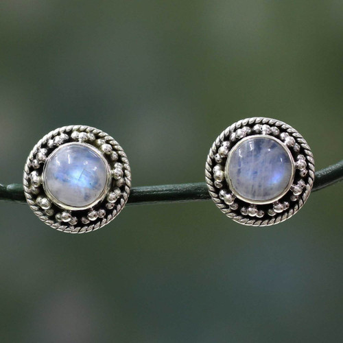 Artisan Crafted Sterling Silver Rainbow Moonstone Earrings 'Lavish Moons'