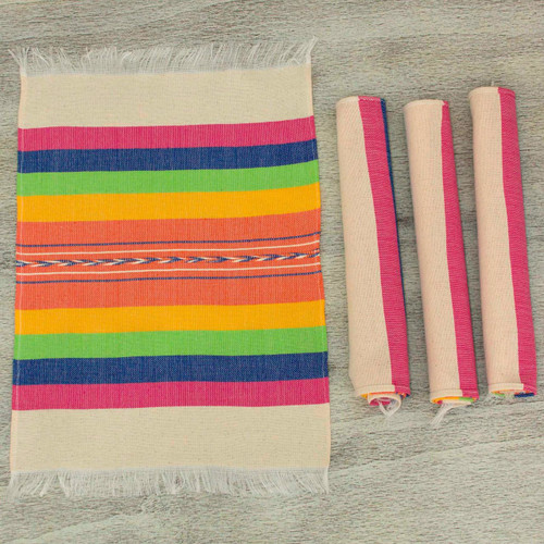Zapotec Colorful Hand Woven Cotton Placemats (Set of 4) 'Fiesta Hues'