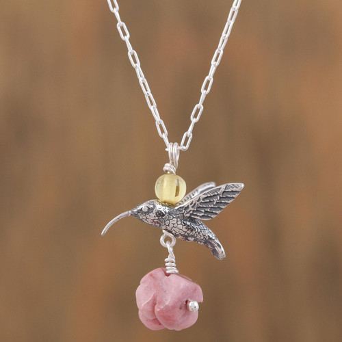 Rhodochrosite and Amber Sterling Silver Bird Necklace 'Hummingbird Treasure'