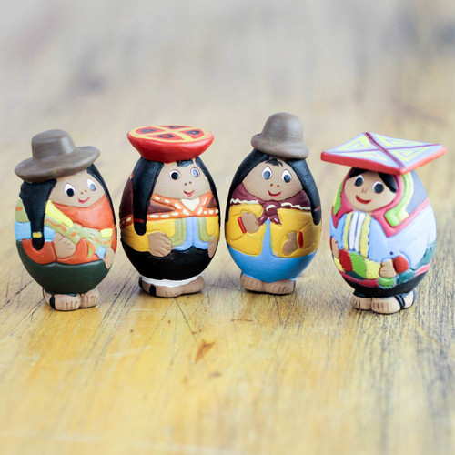 Hand Crafted Ceramic Figurines in Peruvian Regional Attire 'Women of the Andes'