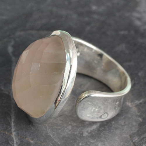 Statement Jewelry Artisan Crafted Rose Quartz Wrap Ring 'Jaipur Opulence'