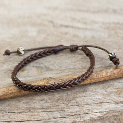 Thai Brown Leather Braided Men's Bracelet 'Single Brown Braid'