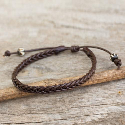 Thai Brown Leather Braided Men's Bracelet 'Single Brown Braid'