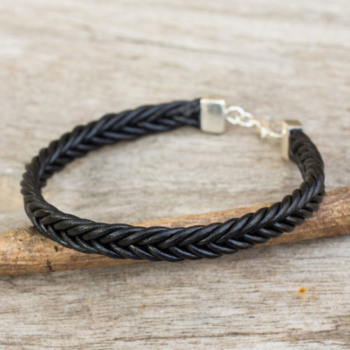 Thai Black Leather Braided Bracelet with Silver Clasp 'Assertive in Black'