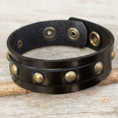 Handcrafted Thai Black Leather Bracelet for Men 'Rustic Black'