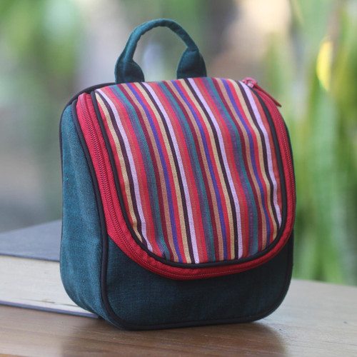 Green Cotton Hanging Toiletry Bag with Multi Color Flap 'Green Jogja'