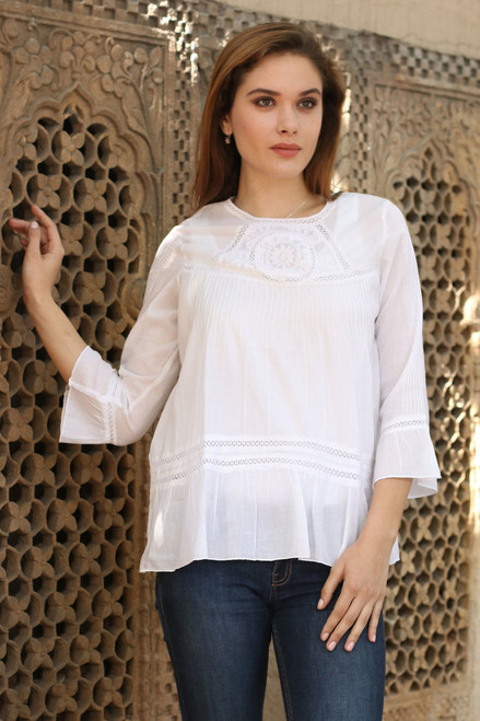 100% Cotton Embroidered Lacy Tunic from India 'Summer Cool'