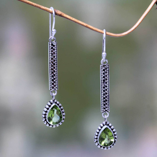 Balinese Peridot and Silver Artisan Crafted Earrings 'Falling Raindrops'