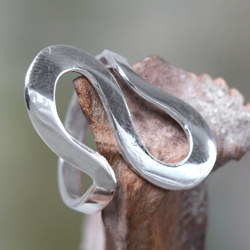 Fair Trade Balinese Jewelry Sterling Silver Band Ring 'Almost Infinite'