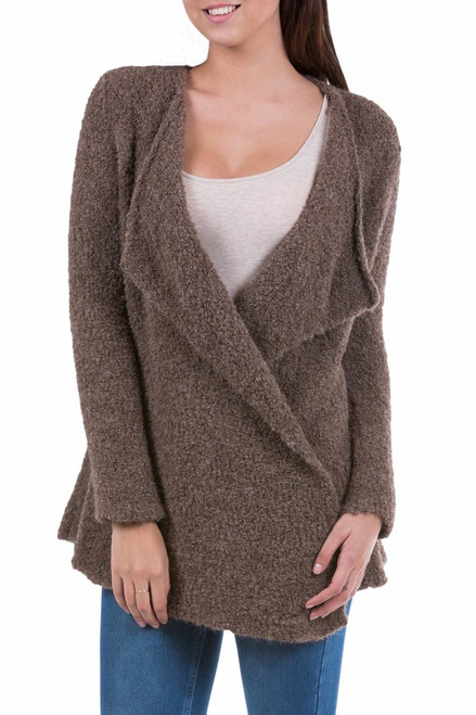 Brown Loose Fit Alpaca Blend Long Cardigan from Peru 'Chocolate Boucle'