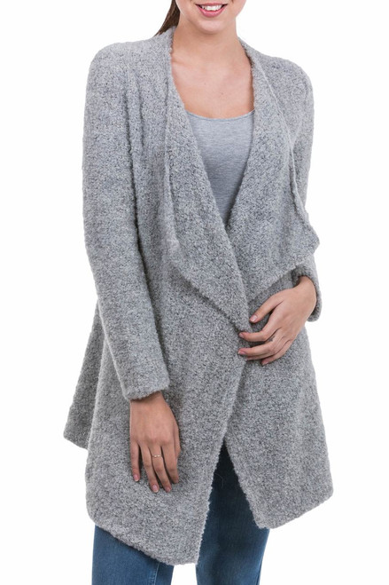 Peru Loose Fit Alpaca Blend Light Grey Boucle Cardigan 'Boucle Mist'