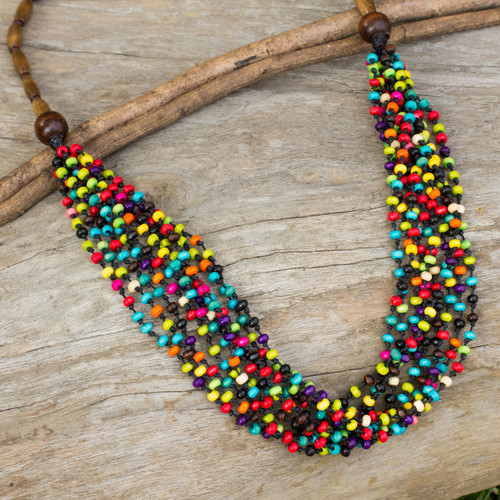 Wood Beaded Necklace Artisan Crafted Jewelry 'Rainbow Muse'