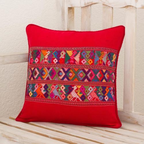 Maya Backstrap Loom Bird Theme Red Cotton Cushion Cover 'Red Quiche Birds'