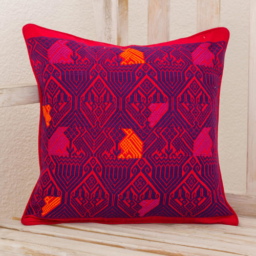 Handwoven Maya Backstrap Loom Red and Purple Cushion Cover 'Birds in Color'