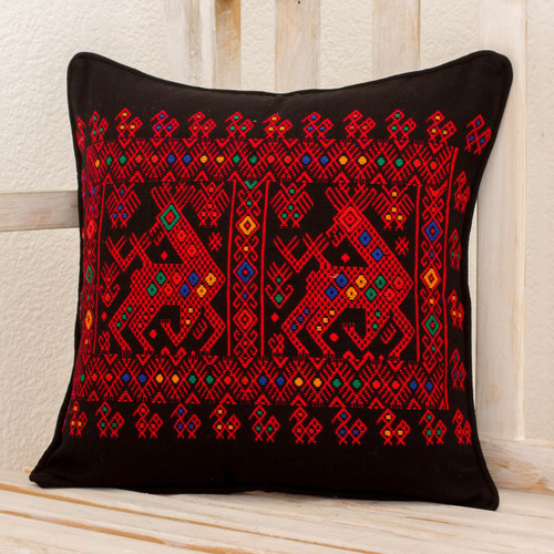 Red Deer Theme Maya Backstrap Black Cotton Cushion Cover 'Red Maya Deer'