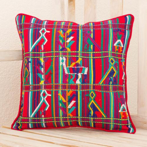 Multicolor Cotton Maya Backstrap Loom Woven Cushion Cover 'Red Birds in Corn'
