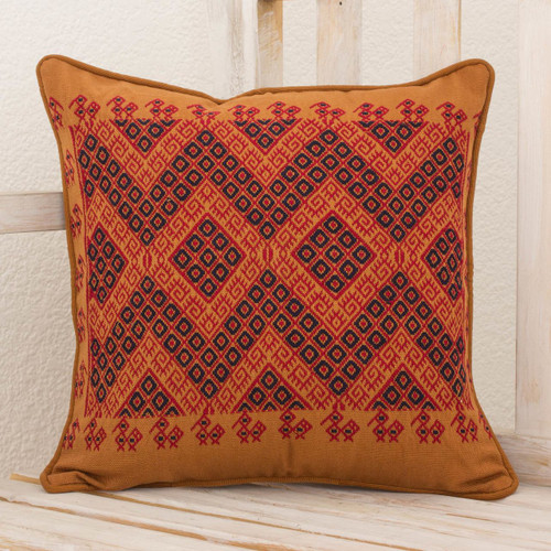 Maya Backstrap Loom Woven Earth Tone Cotton Cushion Cover 'Traditional Symmetry'