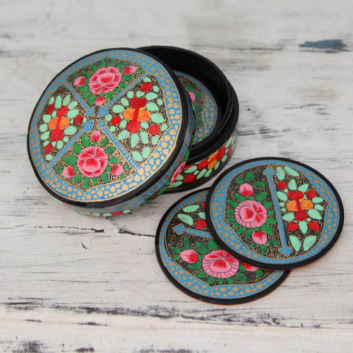 Artisan Crafted Papier Mache Coasters with Holder (Set of 6) 'Kashmir Floral'