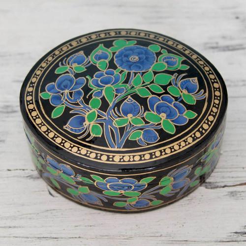 Hand Painted Papier Mache Round Decorative Box 'Blue Grandeur'