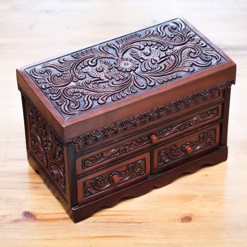 Andean Hand Tooled Leather and Wood Jewelry Box with Flowers 'Garden Memories'