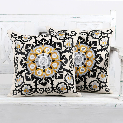 Embroidered Cotton Ecru Cushion Covers from India (Pair) 'Jaipur Blossom'