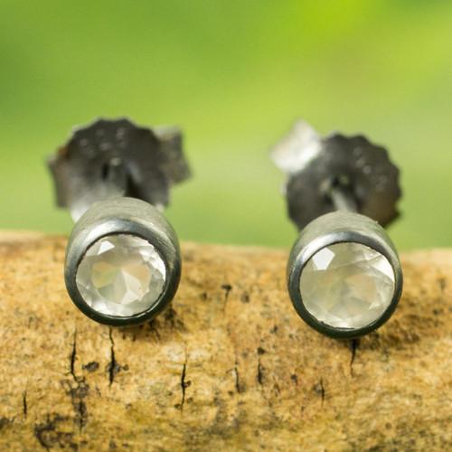 Sterling Silver Stud Earrings with Faceted Moonstone 'Snow Glow'