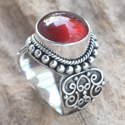 Artisan Crafted Carnelian and Sterling Silver Ring from Bali 'Incandescent Moon'