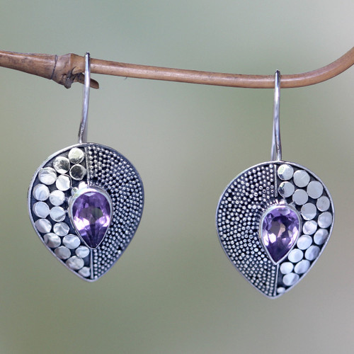 Amethyst and Sterling Silver Earrings from Bali 'Violet Sincerity'