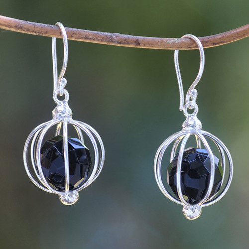 Handcrafted Silver Balinese Earrings with Black Onyx 'Silver Lantern'