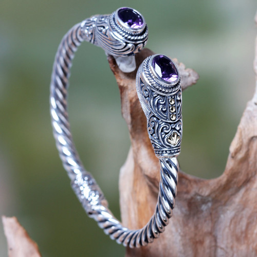 Handcrafted Bali Hinged Silver Cuff Bracelet with Amethysts 'Empress of Gelgel'
