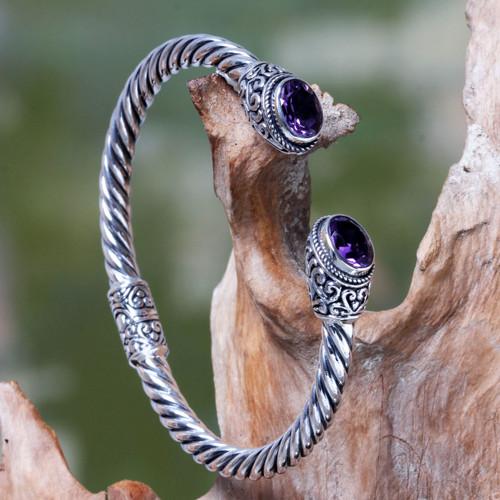 Bali Jewelry Sterling Silver Cuff Bracelet with Amethyst 'Bali Splendor'