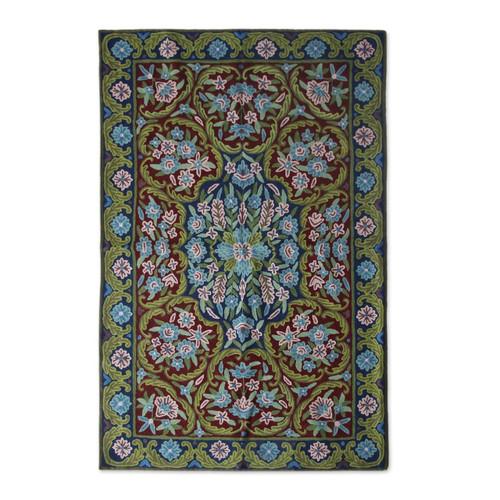 Handcrafted Floral Geometric Chain Stitch Rug 'Kashmir Festival'