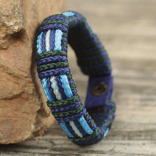 Men's Hand Crafted Blue Cord Wristband Bracelet 'Kente Ocean'