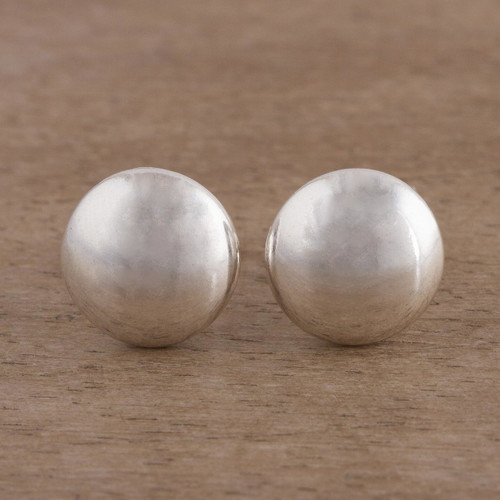 Brushed Silver Artisan Crafted Stud Earrings from the Andes 'Satin Circles'
