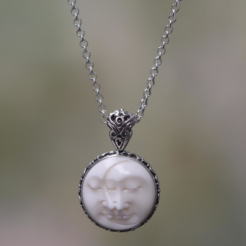 Balinese Handcrafted Silver Necklace with Bone Inlay 'Moon Romancing'