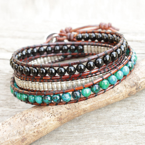 Leather Wrap Bracelet with Onyx Serpentine and Silver 'Hill Tribe Discovery'