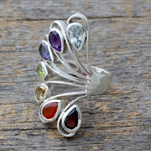 Multi-gemstone .925 Silver Ring Chakra Jewelry from India 'Harmonious Wisdom'