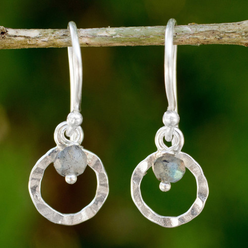 Hand Made Sterling Silver Earrings with Labradorite 'Rustic Modern'