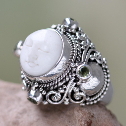 Peridot Statement Ring in Silver and Hand Carved Bone 'Quiet Dreams'