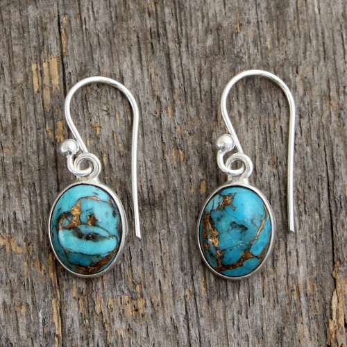 Blue Composite Turquoise Indian Sterling Silver Earrings 'Sky Harmony'