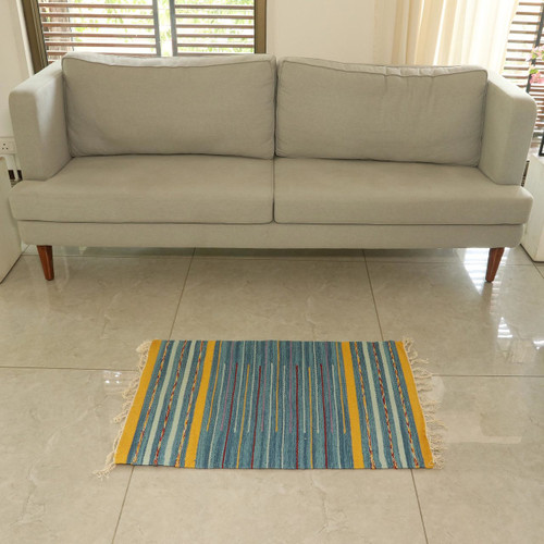 Indian Handwoven Blue and Yellow Striped Dhurrie Rug 'Sky Over Kutch'