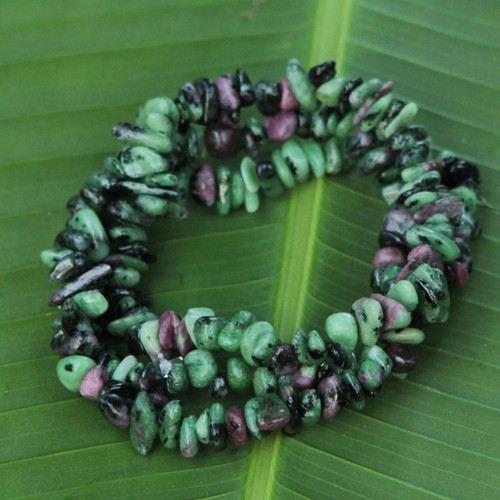 3 Green and Purple Zoisite Beaded Bracelets from Brazil 'Amazon Forests'