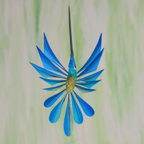 Blue Hummingbird Alebrije Hanging Sculpture from Mexico 'Blue Hummingbird'