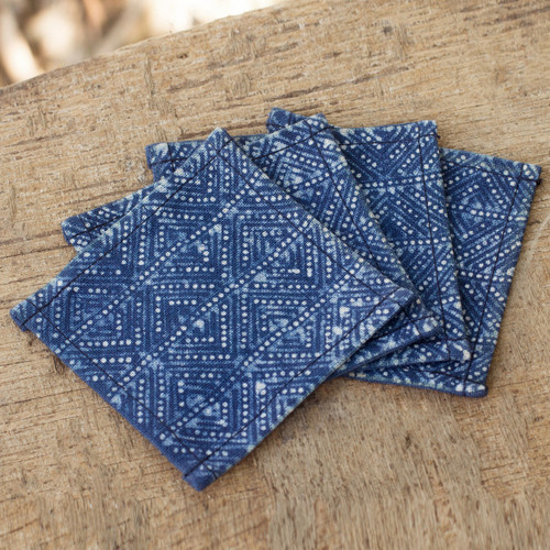 Indigo Blue Coasters Artisan Crafted Cotton Batik (Set of 4) 'Hmong Indigo Stars'
