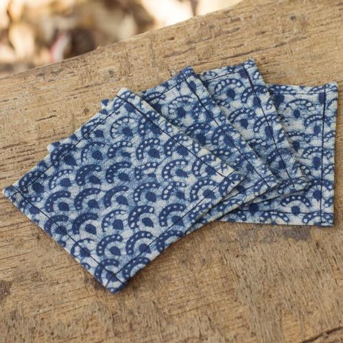 Indigo Blue Coasters Artisan Crafted Cotton Batik (Set of 4) 'Indigo Arches'